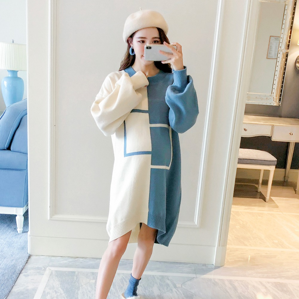 Pregnant women sweater 2018 autumn and winter fashion new long section turtleneck Korean pregnancy maternity blouse fashion 2018 women autumn winter sweater dresses slim turtleneck sexy bodycon solid color robe long knitted office ol dress 1089