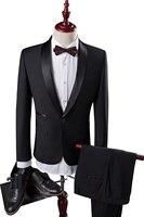 4XL 2 Piece סט החליפה של גברים שחורים עסקי אופנה חתונה משתה תחפושת אדון איש חליפות Jacket & דק ואלגנטי 2018