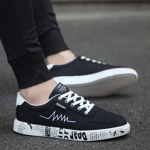 7aa5094025b US $22.89 |2019 New Spring Summer Canvas Shoes Men Sneakers Low top Black  Shoes Men's Casual Shoes Male Brand Fashion Sneakers-in Men's Casual Shoes  ...