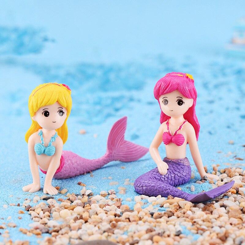 ZOCDOU 1 pieza sirena Sea-maid Sea Fish bonita Hada modelo pequeño estatua figurita adorno para manualidades miniaturas decoración del jardín del hogar