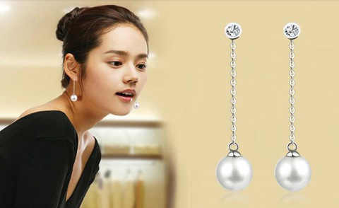 เกาหลีใต้เครื่องประดับต่างหูแฟชั่น Faux Pearl ต่างหูผู้หญิงเลียนแบบต่างหูยาวต่างหูของขวัญอารมณ์
