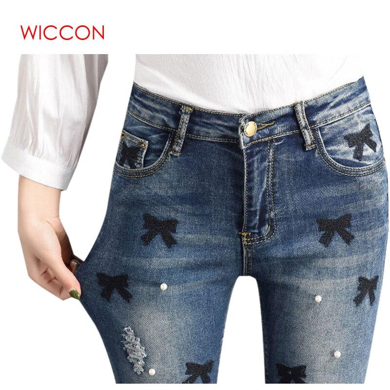 5fe81b28e € 16.03  WICCON nueva moda Vintage Denim lápiz Pantalones de las mujeres de  la primavera de 2018 de verano Casual caliente estilo Preppy bordado ...