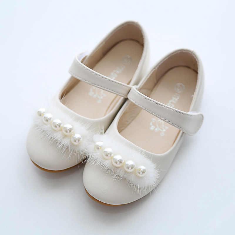 Wit Roze Kids Baby Peuter Parel Bloem Kinderen Bruiloft Jurk Prinses Lederen Schoenen Voor Meisjes School Dansschoenen 1-16Y