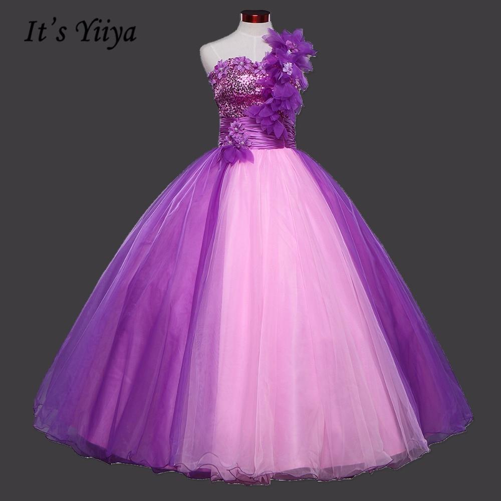 Purple Flowers One Shoulder Bling Wedding Dresses Princess Floor ...