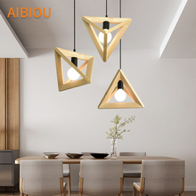 AIBIOU Triangular Wood Pendant Lights For Dining Restaurant Wooden Lamp Led Hanging Luminaire E27 Indoor Lighting