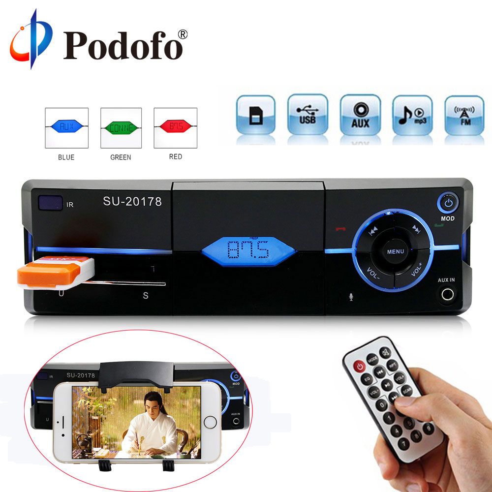 Podofo 1 Din Car Radio Auto Audio Stereo MP3 Bluetooth FM AUX USB In-Dash Car Autoradio Player With Remote Control Phone Charge мужские часы слава 1231409 300 2428