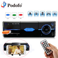 Podofo 1 Din Car Radio Auto Audio Stereo MP3 Bluetooth FM AUX USB In Dash Car Autoradio Player With Remote Control Phone Charge