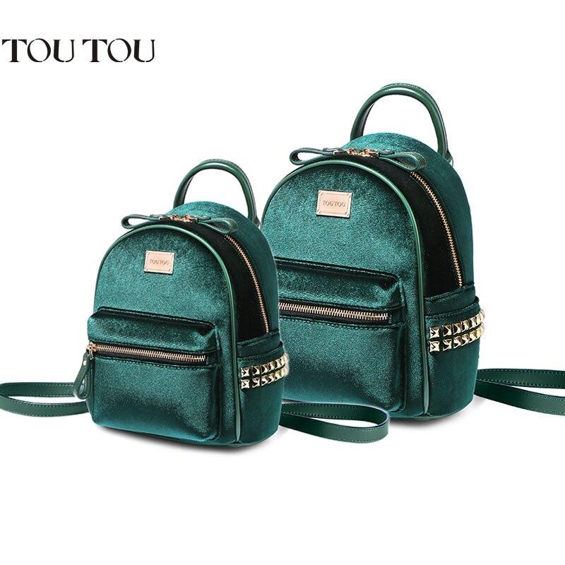 bed2d9dacb A1640 TOUTOU brand Velvet Women Backpack Mini Backpack For Teenage Girl  Mochila Escolar Female rucksack Student School Bag