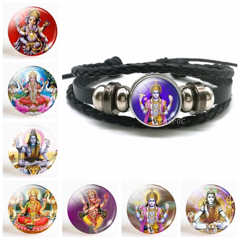 Fashion Akshmi Goddess Button Leather Bracelet Jewelry Lakshmi Hinduism Amulet Charm Glass Cabochon Dome for Him or Her Gift