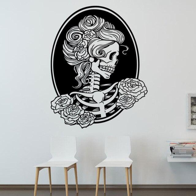 halloween 3d wallpapers female skull creative horror pvc self adhesive backdrop wall stickers waterproof kids room