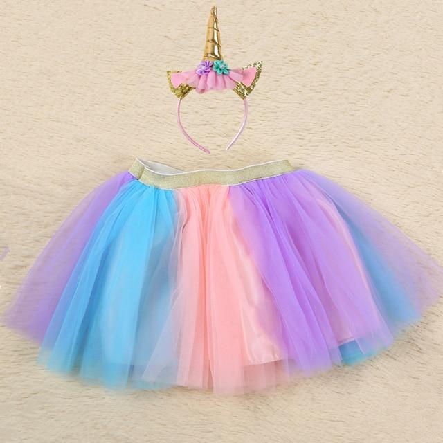 8128c6d63e096 US $9.13 45% OFF|1 Set Pastel Rainbow Unicorn Tutu Skirt with Headband  Children Halloween Birthday Party Tutu Skirt Baby Kids Tulle Skirt 1 7Y-in  ...