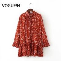 VOGUE N New Womens Ladies Floral Print Bow Tie Ruffled Long Sleeve Plus Size Loose Mini