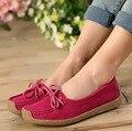 Mujeres Resbalón en Zapatos de Los Planos Causales Mujeres de Los Planos Zapatos de Plataforma Bowtie de Las Mujeres Zapatos de Cuero Genuino Cómodo 8d53