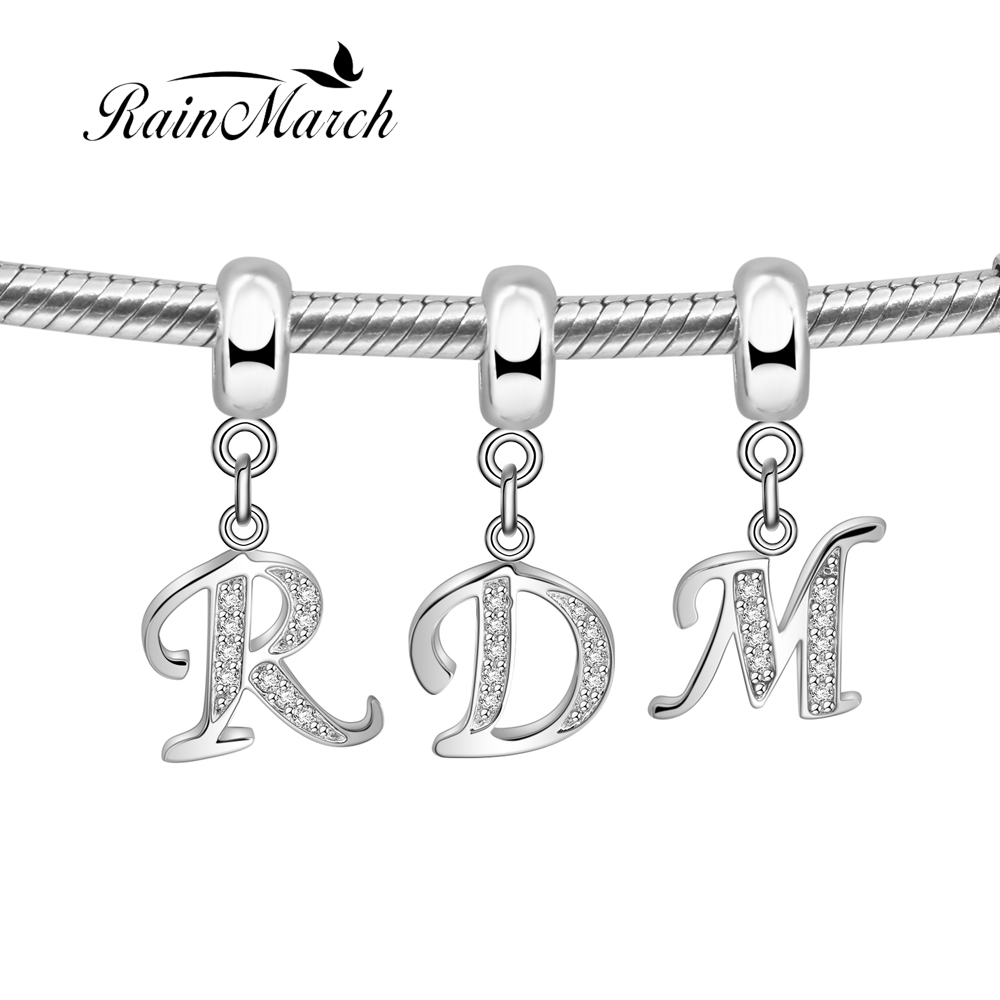 "Alphabet Jewelry: 100% 925 Sterling Silver Alphabet Beads Letter Pendant Charm ""D Y"" Jewelry With Cubic Zirconia"