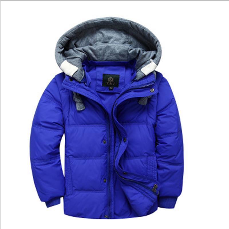 2017 Winter Children Boys Down Jacket Coat Fashion Hooded Thick Solid Warm Coat Boy Winter Clothing Outwear For 4-12T 6 Colors купить