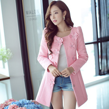Original 2016 Brand Autumn and Winter Jacket Women Pink Plus Size Slim Casual Elegant Flower Long Wool Coats Female Wholesale