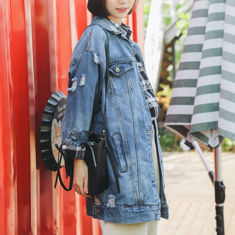 cca9d60ddbd20 EXOTAO Ripped Female Denim Coats Loose Veste Jean New Turn down Collar Jeans  Jacket Women Three Quarter Sleeve Coat Oversized-in Basic Jackets from  Women s ...