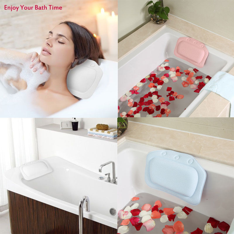 2018 Waterproof Comfortable SPA Head Neck Rest Bathtub Cushion Pillow Headrest Sucker Bath Tub Neck Rest Bathroom Accessories