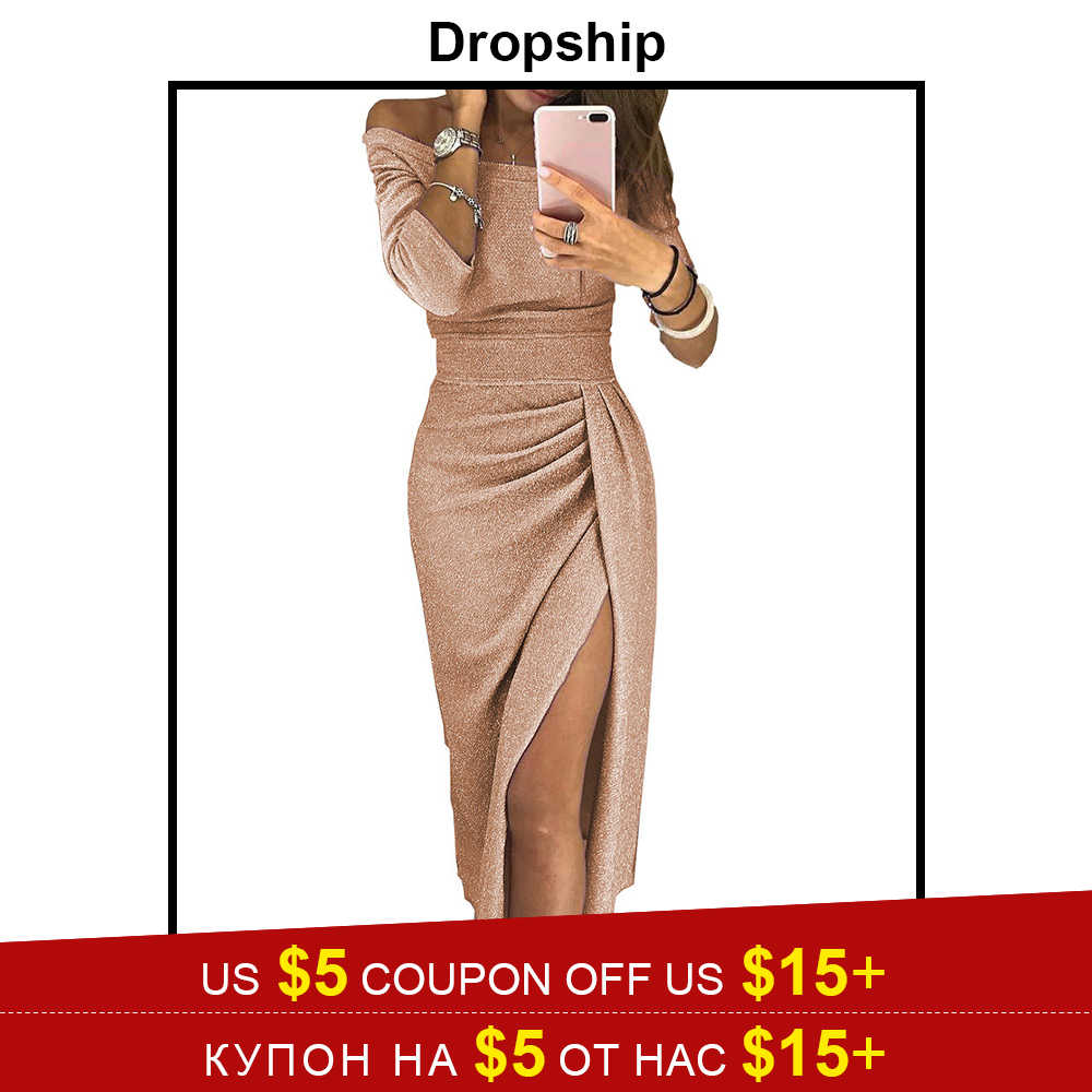 44022c7f231 Dropship Dress Women Bodycon Sexy Dresses Party Long Maxi Sequin Night  Bandage Plus Size Winter Black
