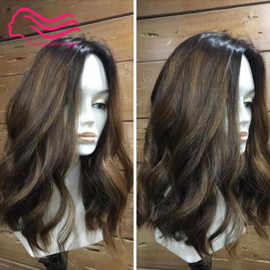 Tsingtaowigs Custom made  16inch color 6 with highlite  #12  ,  kosher  wig , jewish wig  unprocessed   free shipping