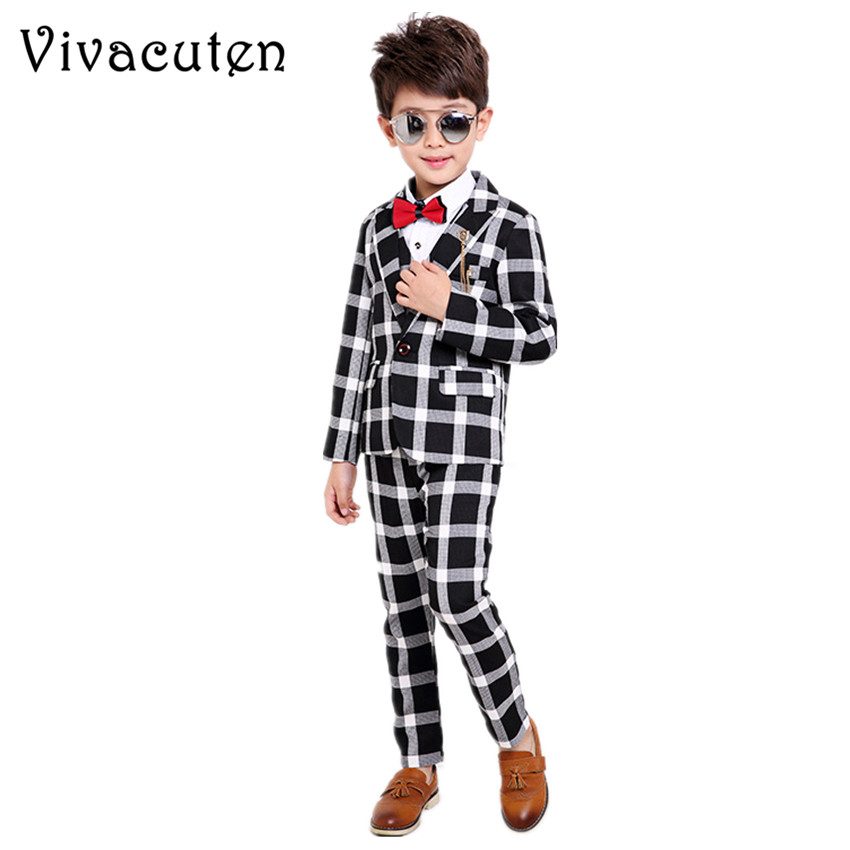 цена на Flower Boys Plaid Blazer Vest Shirt Pants 4pcs Formal Suits for Weddings Boys Tuxedo Kids Gentleman Party Clothing Sets F020