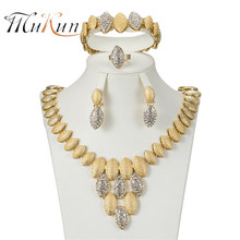 MUKUN 2018 jewelry set african beads Dubai for women elegant Imitated crystal sets Gold-color necklaces