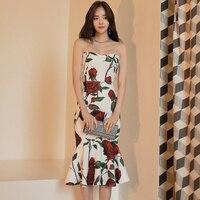 Elegante estilo Coreano projeto original sexy impressão flor bola festa clube noite vestido de escritório vestido formal vestido sereia apertado