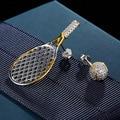Punk Style 925 Sterling Silver Tennis Racket Earrings Stud Full Zircon Cz Ball Stud Earrings for Ladies CZ Asymmetry Earrings