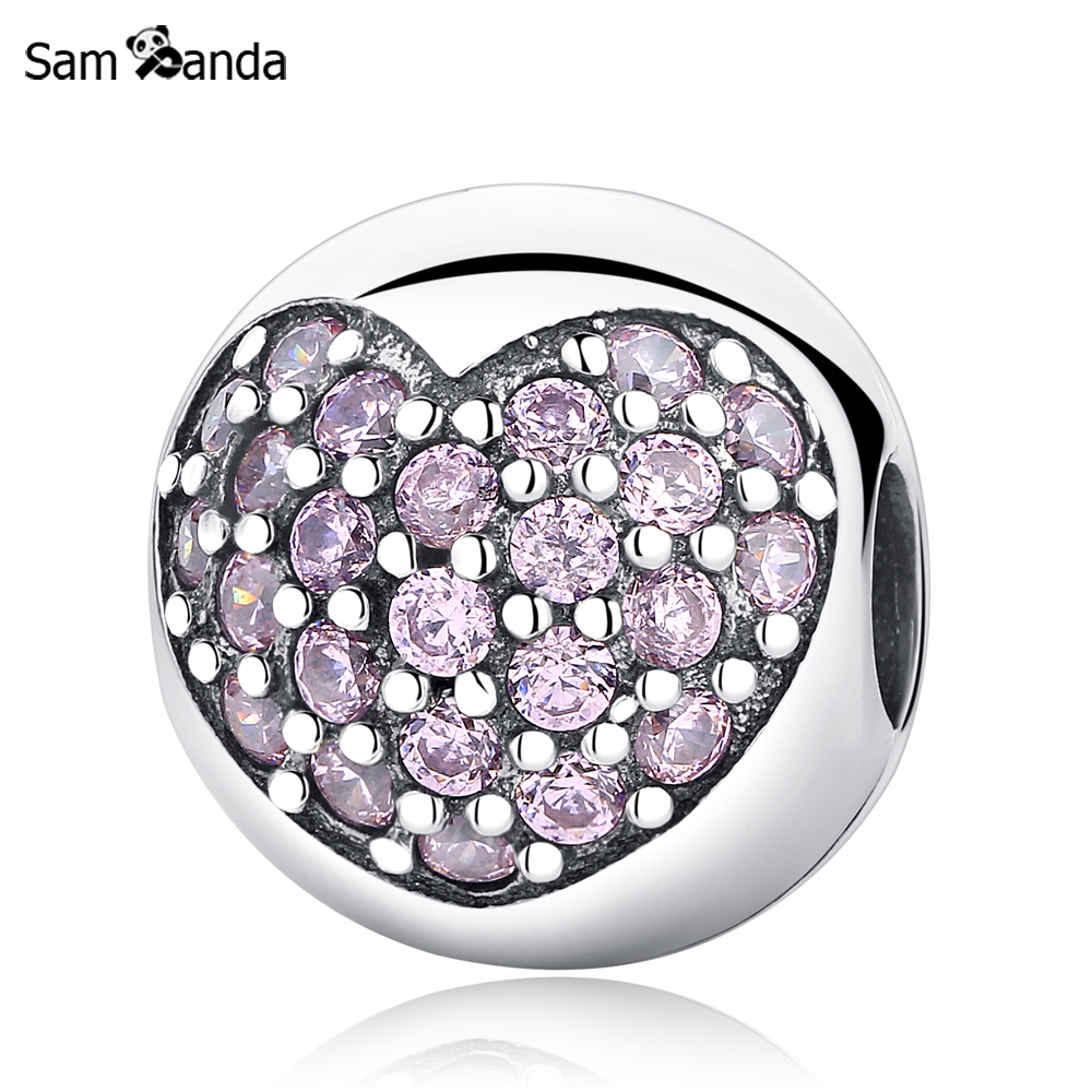 Authentic 925 Sterling Silver Bead Pave Zircon Crystal Clip Heart Charm Beads Fit Original Pandora Bracelet Bangle DIY Jewelry