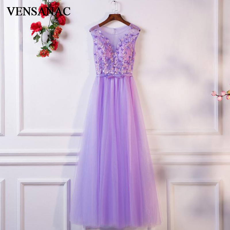 VENSANAC 2018 Illusion O Neck Flowers Appliques A Line Long Evening Dresses Party Bow Sash Open Back Tulle Prom Gowns