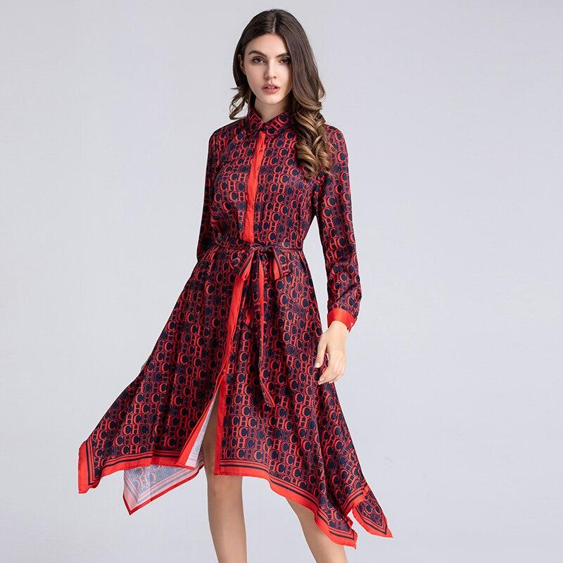 VERDEJULIAY luksusowe litery sukienki z nadrukiem 2019 lato Runway sukienka z długim rękawem skręcić w dół kołnierz nieregularne koszula sukienka kobiety XXL w Suknie od Odzież damska na  Grupa 1
