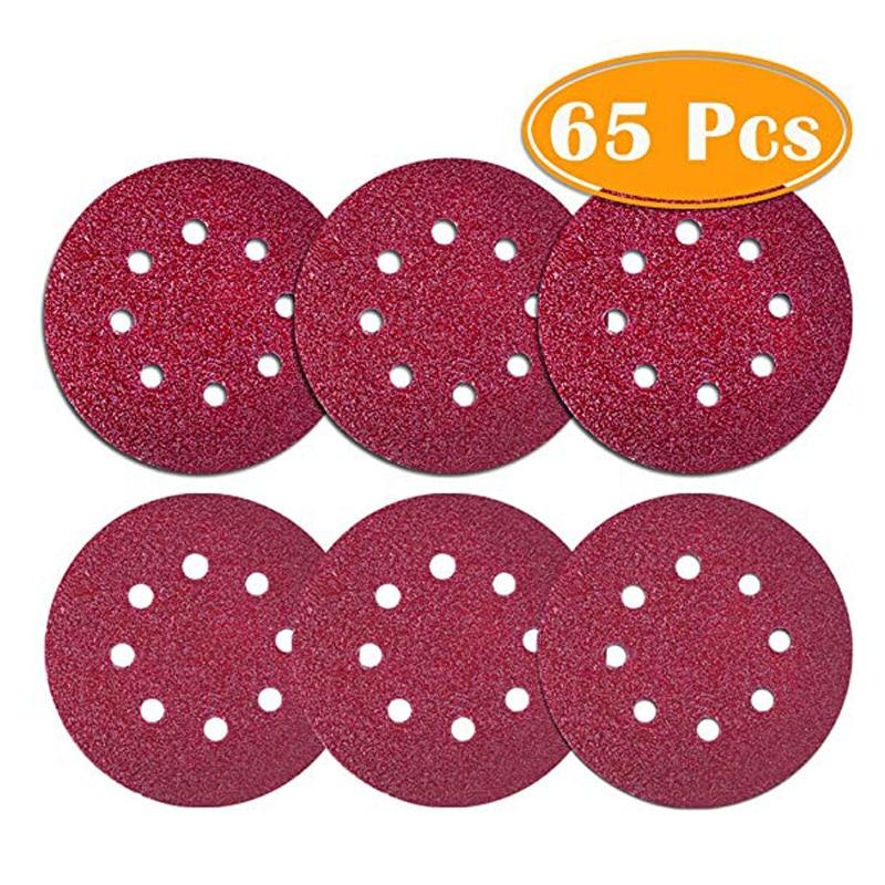65Pcs Sanding Discs 5 Inch Sander Pads 60 80 120 180 240 320 Sandpaper Disk Sand Sheets Grit For Random Orbit Sander Orbital Pal