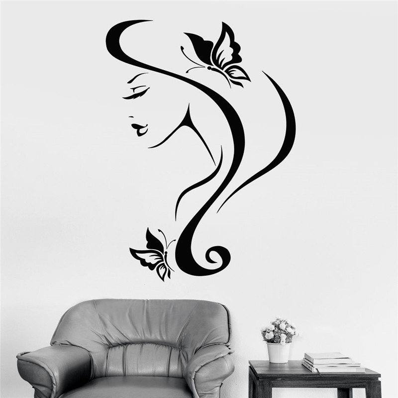 Sexy Girl With Hair Wall Stickers Vinyl Wall Decal And Butterfly Spa Salon Decor New Arrivals Wall Tattoo Design Mural
