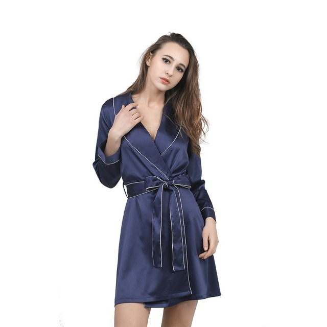 Daeyard Fashion Satin Robe Women Solid Sexy Bathrobe Home Clothes