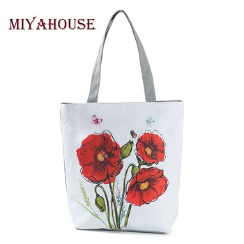 New Spring Women Canvas Tote Vintage Flowers Print Beach Bags For Female Grape Design Shopping Handbags Girls Floral Zipper Bag