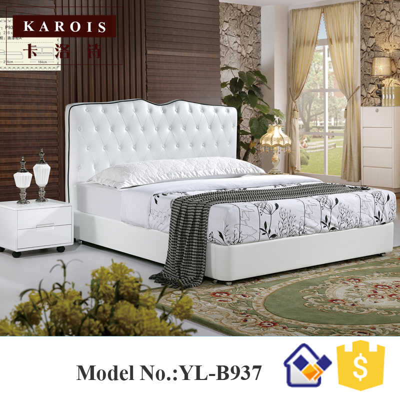 Luxury diamond design model white pu leather wooden bedroom bed