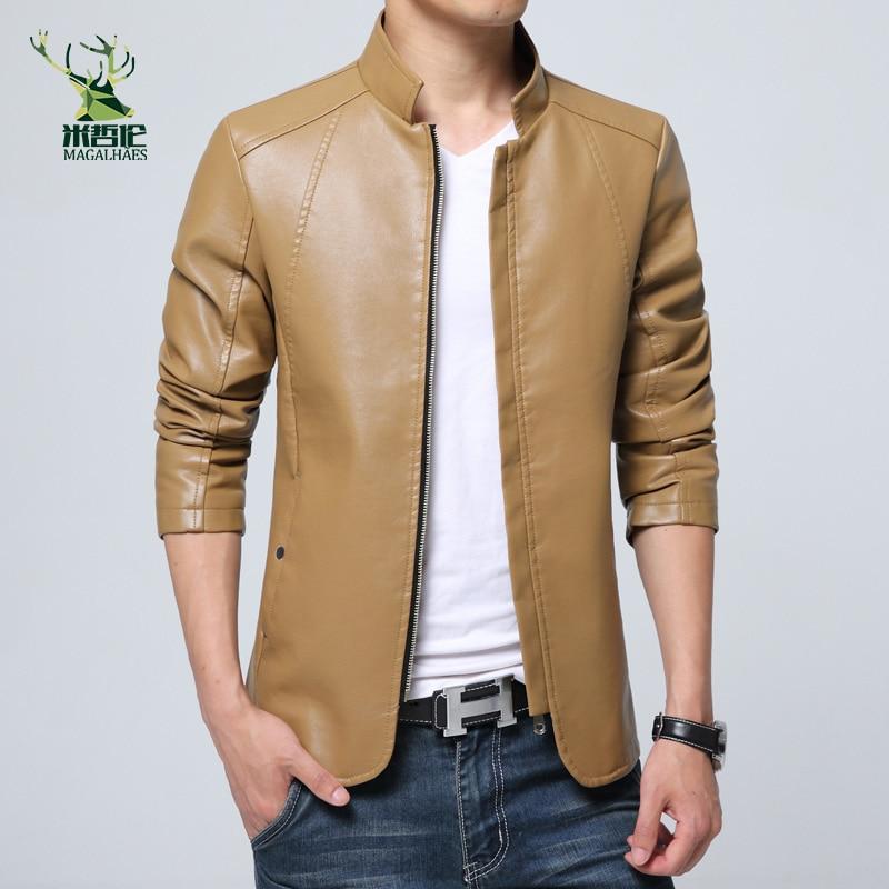 2016. gada jaunās modes vīriešu PU jakas ar statīvu apkakli - Vīriešu apģērbi - Foto 3