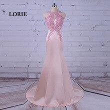 LORIE Elegante Largo Vestidos de Noche de Color Rosa Vestido Del O-cuello Apliques Sirena Vestido de Fiesta Vestido de Fiesta de Satén vestidos largo de noche 2017