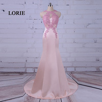 LORIE Elegant Long Gowns Pink Evening Dress O Neck Appliques Mermaid Prom Dress Satin Party Gown vestidos largo de noche