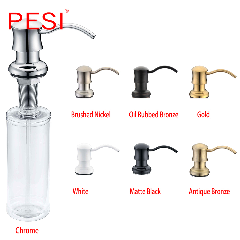 Kitchen Sink Countertop Soap Dispenser Deck Mount Brass And ABS Built In Hand Soap Dispenser Pump Large Capacity 13 OZ Bottle.
