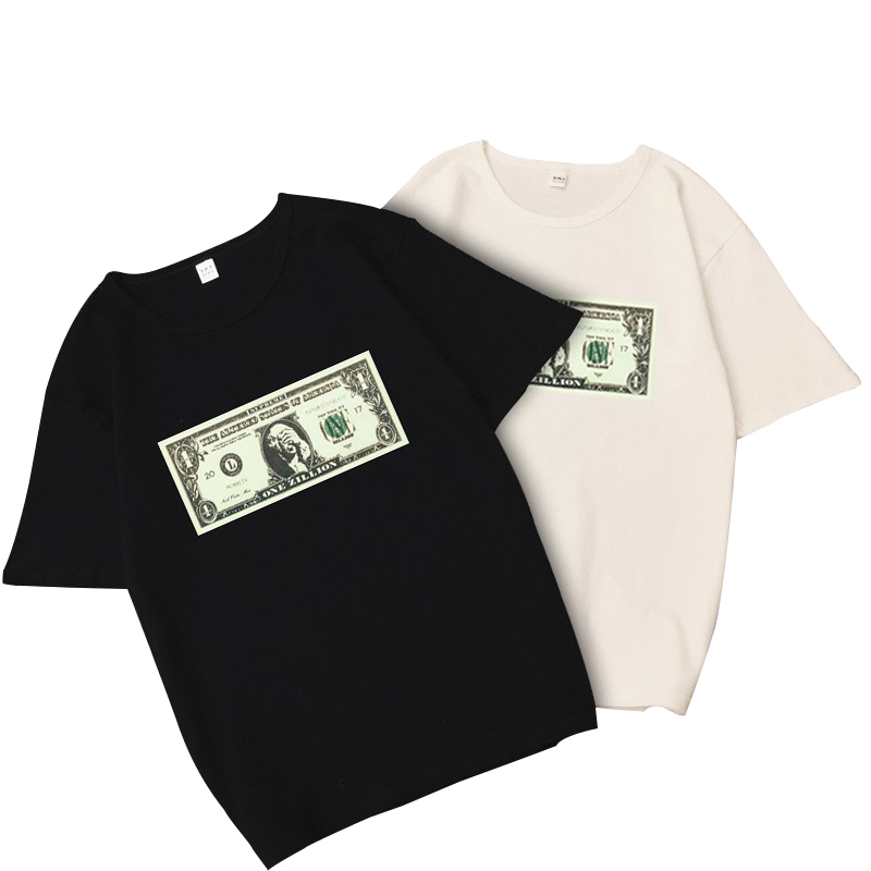 Men\s T-shirt Printed Hip-hop Banknotes Men And Women Couple Personality Loose Short-sleeved