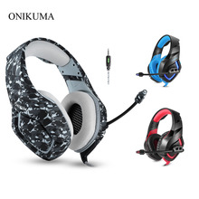 ONIKUMA K1 Camouflage PS4 Gaming Headset with Mic Stereo Earphones Wired Deep Bass Headphone for PC Gamer Laptop New X-BOX