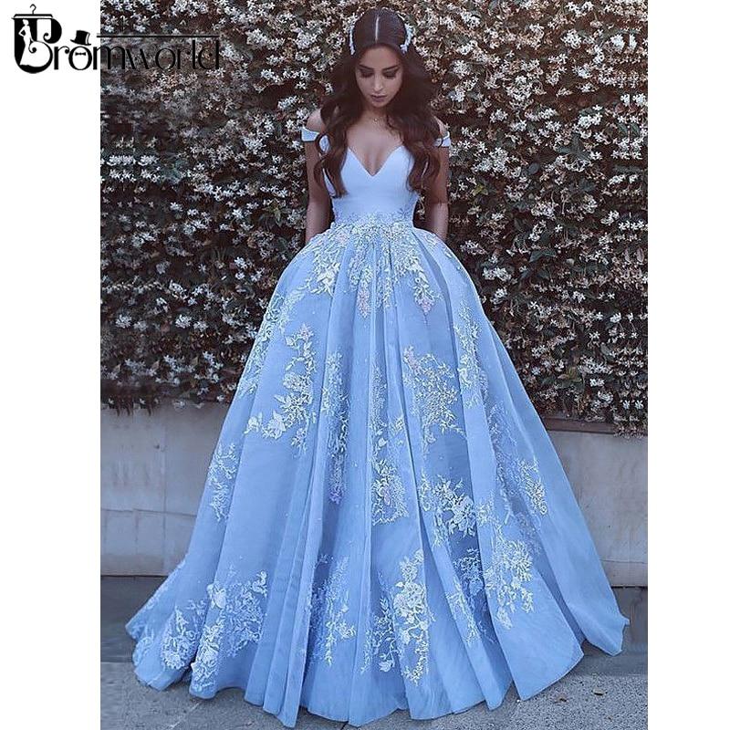 Vestido De Noiva Blue Wedding Dress 2019 Ball Gown Sleeveless Off Shoulder Lace Dubai Arabic Boho Wedding Gown Bridal Dresses in Wedding Dresses from Weddings Events
