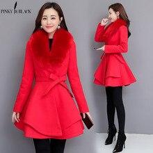PinkyIsblack, новинка, осенне-зимнее шерстяное пальто для женщин, длинное, элегантное, Полушерстяное пальто для женщин, милое, опрятное, большое, меховое пальто, верхняя одежда