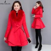 PinkyIsblack New 2019 Autumn Winter Wool Coat Women Long Elegant Wool Blend Coats Female Sweet Preppy Large Fur Coat Outwear