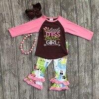 Fall Winter Baby Girls Cotton Children Clothes Little Miss Farm Girl Pink Brown Ruffle Long Boutique