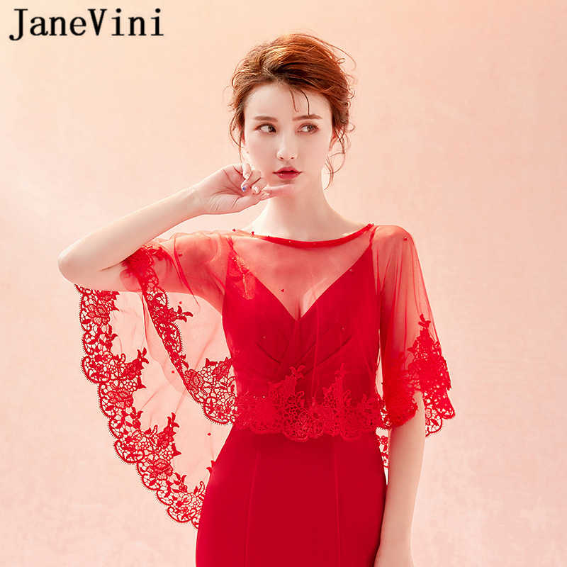 JaneVini Fashion Red Lace Summer Wedding Dress Shawls Appliques Beaded Hi-Lo Capes Jacket for Evening Party Bolero Fille Mariage