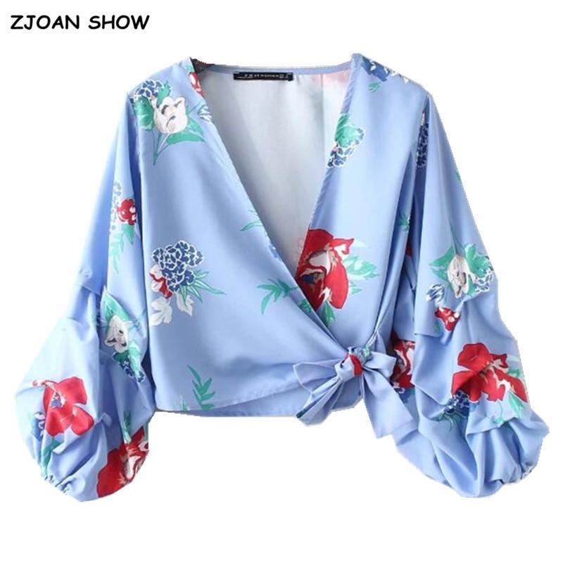 Women's Clothing 2018 V Neck Flower Print Lacing Up Waist Kimono Shirt Holiday New Women Laminated Lantern Sleeve Beach Bow Tie Short Blouse Tops