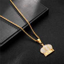 316L Stainless Steel HIP Hop Full Rhinestone Bling Iced Out King Crown Necklaces & Pendants for Men Jewelry Free Ship