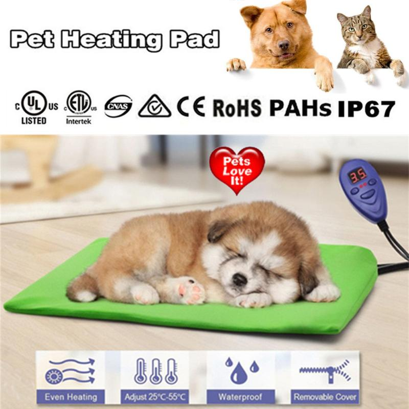 30*40cm 15W Pet Dog Electric Heating Pad IP67 Waterproof Cable Protection for Dog Cat Bunny Blanket 7 degree temperature set pet attire sparkles dog collar 8 12in pink